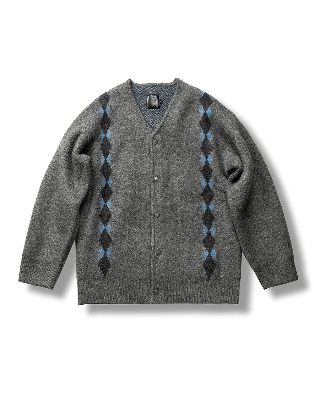 ARGYLE MOHAIR CARDIGAN DARK GRAY