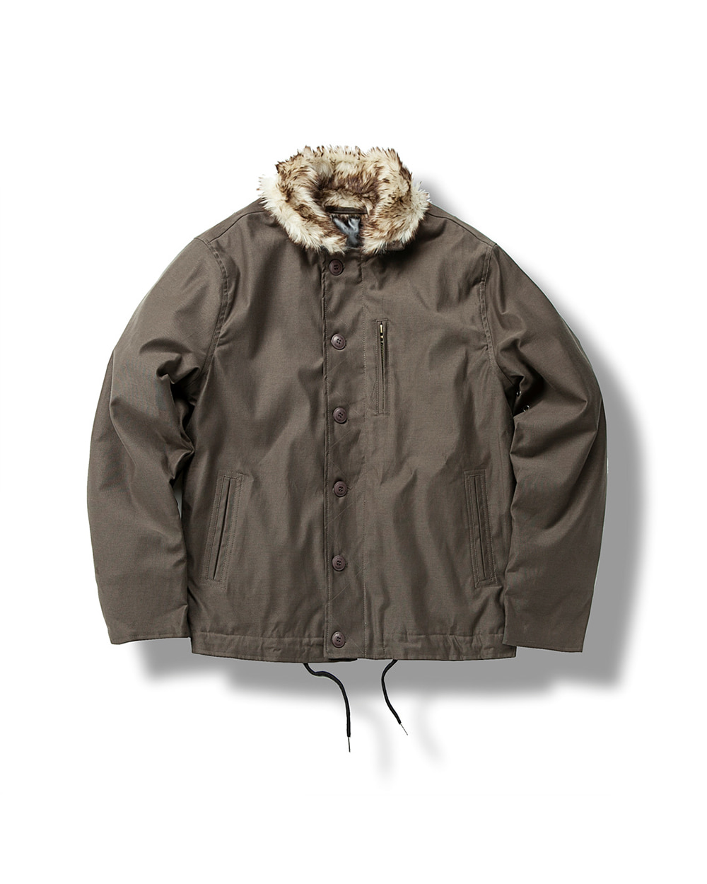 MICRO FUR DECK JACKET BROWN