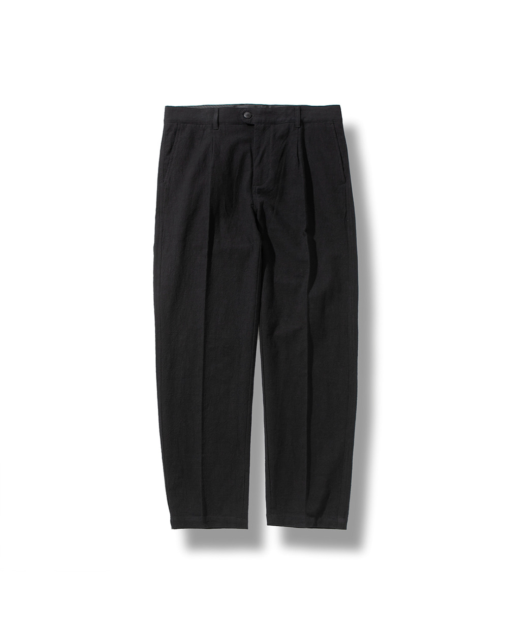 LINEN TAPERED PANTS BLACK