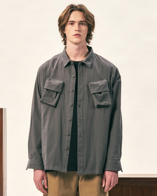 CARGO POCKET UTILITY SHIRTS GRAY