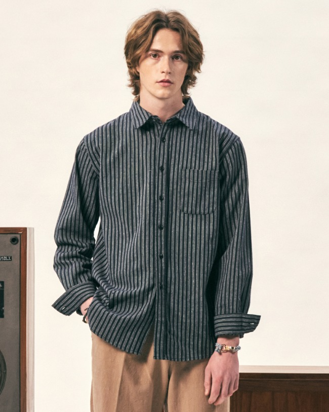 STRIPE LINEN SHIRTS NAVY